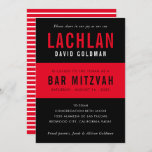 """BAR MITZVAH modern minimal typography black red Invitation<br><div class=""""desc"""">by kat massard >>> WWW.SIMPLYSWEETPAPERIE.COM <<< CONTACT ME for custom wording or to add any lines in Hebrew Love the design, but would like to see some changes - another color scheme, product, add a photo or adapted for a different occasion - no worries simply contact me - I am...</div>"""