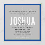 """BAR MITZVAH modern name gray royal blue Invitation<br><div class=""""desc"""">by kat massard >>> kat@simplysweetPAPERIE.com <<< CONTACT ME for custom wording or to add any lines in Hebrew Love the design, but would like to see some changes - another color scheme, product, add a photo or adapted for a different occasion - no worries simply contact me - I am...</div>"""