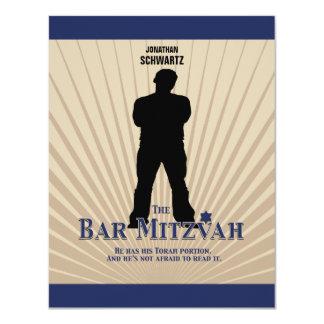 "Bar Mitzvah Movie Star Reply Card in Navy Tan 4.25"" X 5.5"" Invitation Card"