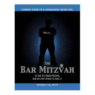 Bar Mitzvah Movie Star Save the Date, Blue, Black Postcard