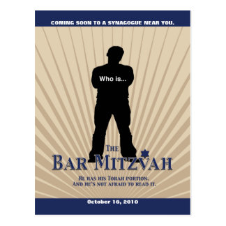 Bar Mitzvah Movie Star Save the Date in Navy Tan Postcard
