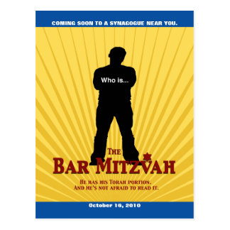 Bar Mitzvah Movie Star Save the Date Postcard