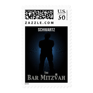 Bar Mitzvah Movie Star Stamp, Blue & Black Medium Postage