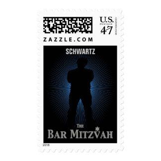 Bar Mitzvah Movie Star Stamp, Blue & Black Medium Postage Stamp
