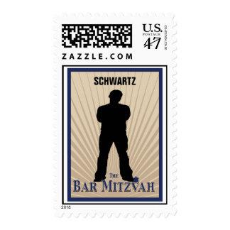 Bar Mitzvah Movie Star Stamp in Navy Tan, Medium