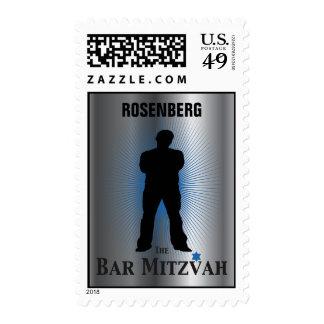 Bar Mitzvah Movie Star Stamp, Silver blue medium