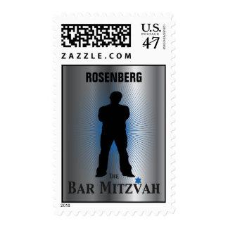 Bar Mitzvah Movie Star Stamp, Silver blue medium Postage