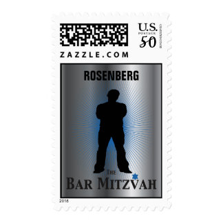 Bar Mitzvah Movie Star Stamp, Silver blue medium Postage