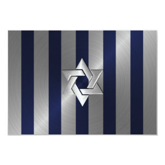 Bar Mitzvah Navy Blue and Silver Stripe with Star 3.5x5 Paper Invitation Card