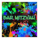 Bar Mitzvah, Paint Splatter, Fun Invitation