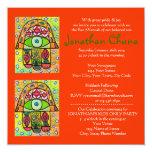 Bar Mitzvah - Pear Orchard Hamsa 5.25x5.25 Square Paper Invitation Card