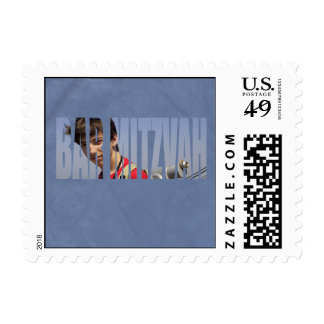 Bar Mitzvah Photo Stamp in Blue Crinkled, Small