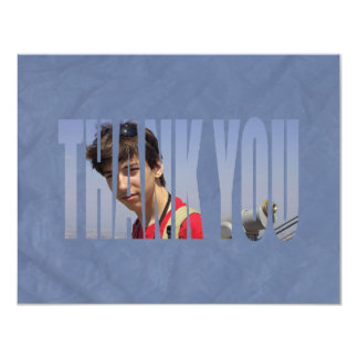 Bar Mitzvah Photo Thank You Card2 in Blue Crinkled Card