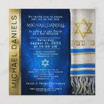 "Bar Mitzvah Prayer Shawl Invitation<br><div class=""desc"">Customize this gold and blue Bar Mitzvah invitation with a prayer shawl in blue and Star of David.</div>"