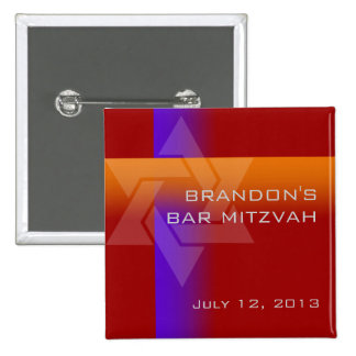 Bar Mitzvah Purple and Orange on Any Color Button