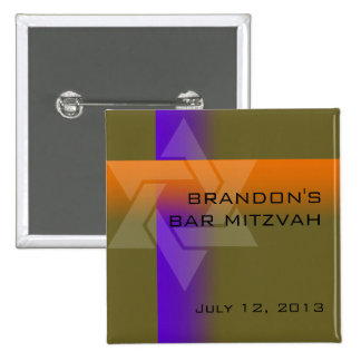 Bar Mitzvah Purple and Orange on Any Color Pinback Button