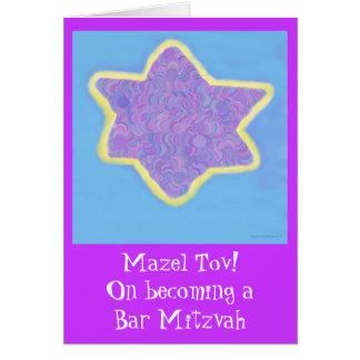 Bar Mitzvah Purple Jewish Star of David Greeting Card