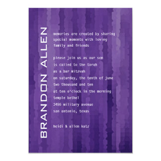 Bar Mitzvah Purple Techno Streaks Card