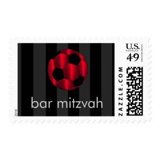 Bar Mitzvah Red and Black Soccer Ball Postage