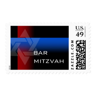 Bar Mitzvah Red and Blue Contemporary Postage Stamp