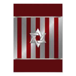 Bar Mitzvah Red and Silver Stripe Star of David Custom Invite