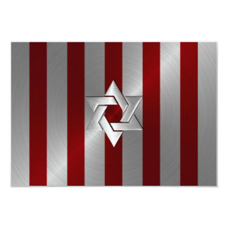 Bar Mitzvah Red and Silver Stripe with Star 3.5x5 Paper Invitation Card