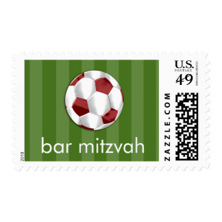 Bar Mitzvah Red and White Soccer Ball Postage