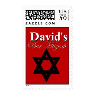 Bar Mitzvah Red Invitation Postage