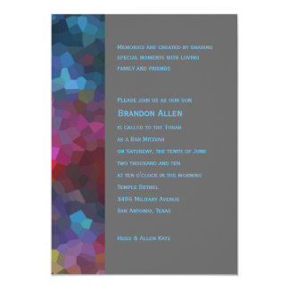 Bar Mitzvah Red Purple Blue Gray Abstract Design Card