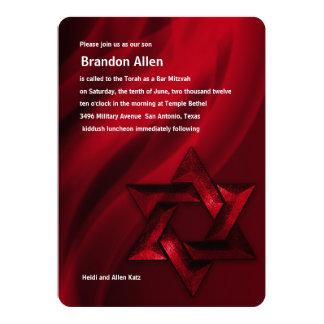 Bar Mitzvah Red Star of David Card