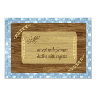 Bar Mitzvah RSVP Return, Wood Panels, Blue Pattern Card