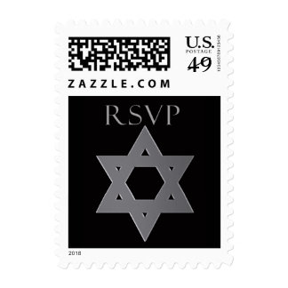 Bar Mitzvah RSVP stamp in silver