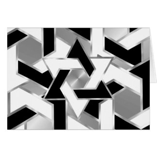 Bar Mitzvah Silver Black White Star of David Card