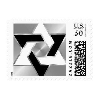 Bar Mitzvah Silver Black White Star of David Postage