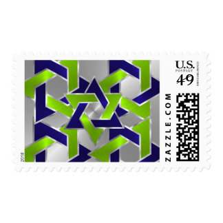 Bar Mitzvah Silver Blue Lime Green Star of David Stamp