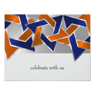 Bar Mitzvah Silver Blue Orange Star of David Card