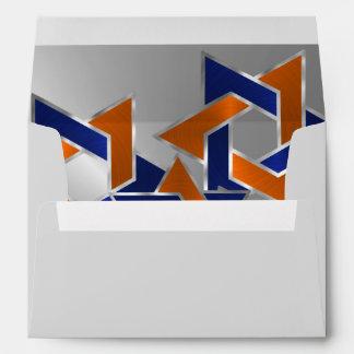 Bar Mitzvah Silver Blue Orange Star of David Envelope