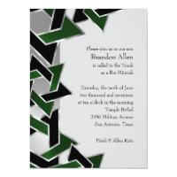 Bar Mitzvah Silver Green Black Star of David Card