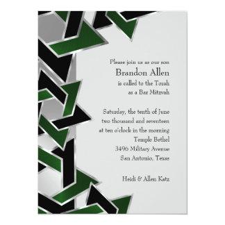 Bar Mitzvah Silver Green Black Star of David Card