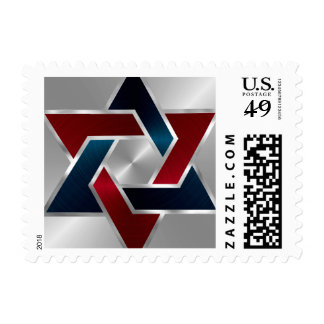 Bar Mitzvah Silver Navy Blue Red Star of David Stamp