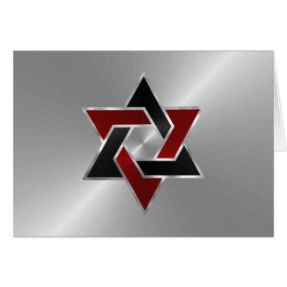 Bar Mitzvah Silver Red Black Star of David Card