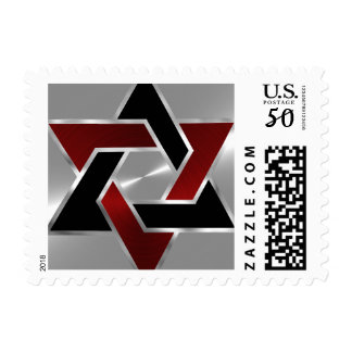Bar Mitzvah Silver Red Black Star of David Postage