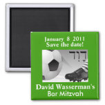Bar Mitzvah Soccer Save the Date 2 Inch Square Magnet
