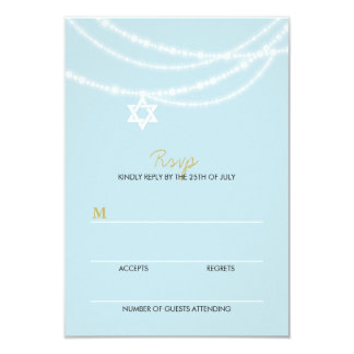 "Bar Mitzvah Sparkles Star Of David Invite RSVP 3.5"" X 5"" Invitation Card"