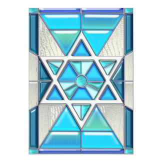 Bar Mitzvah Stained Glass & Silver Star of David Card