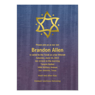 Bar Mitzvah Stained Wood Blue Plum Gold Star Card