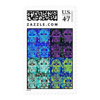 Bar Mitzvah Stamp : Indigo-Blue Hamsa