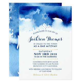 BAR MITZVAH star modern blue watercolor invite