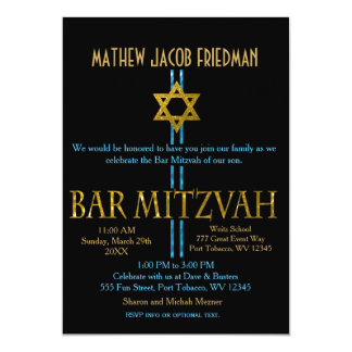 Bar Mitzvah | Star of David | Black 5x7 Paper Invitation Card