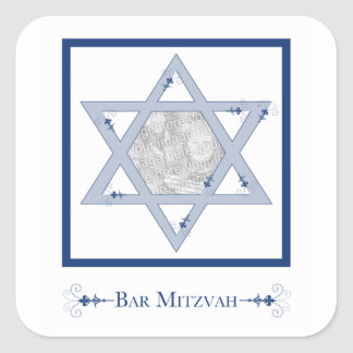 bar mitzvah (star of david elegance photo gift) square stickers